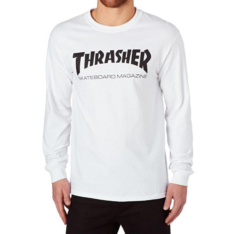 THRASHER SKATE MAG LONG SLEEVE T SHIRT WHITE