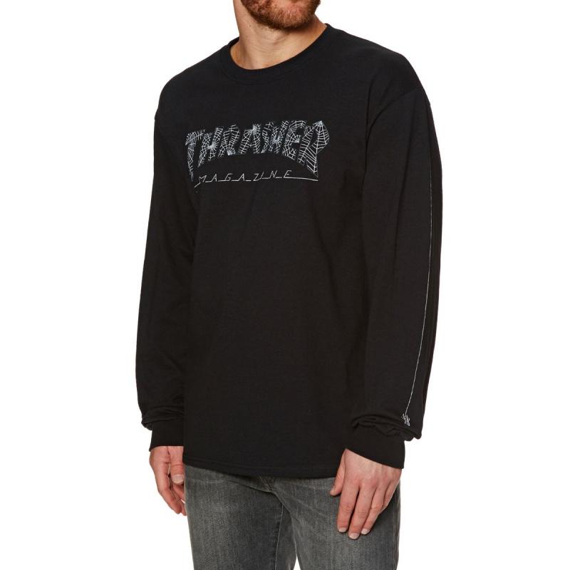 THRASHER WEB LONG SLEEVE T-SHIRT BLACK
