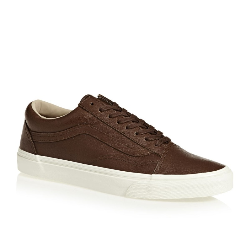 VANS UA OLD SKOOL SKATE SHOES LUX LEATHER SHAVED CHOCOLATE / PORCINI