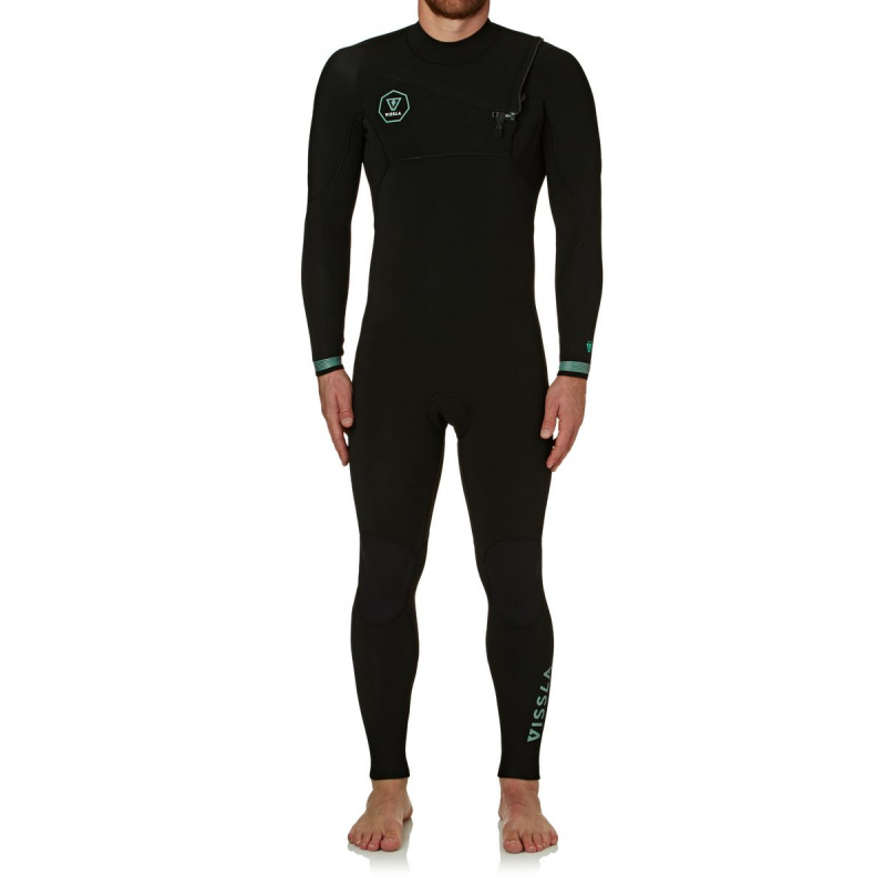 VISSLA SEVEN SEAS 5/4MM 2018 CHEST ZIP WETSUIT BLACK FADE
